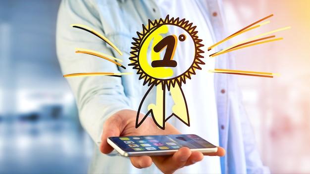 Zakenman met behulp van een smartphone met een hand getrokken beloning voor de nummer één Premium Foto