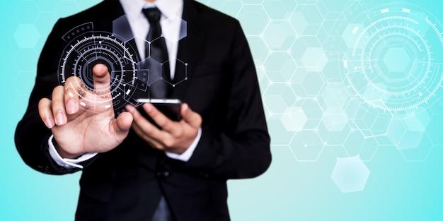 Zakenman netwerktechnologie en communicatie Premium Foto