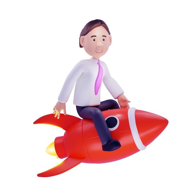 Zakenman op een raket. geïsoleerd op wit. 3d illustratie Premium Foto