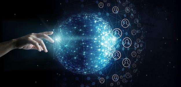 Zakenman wat betreft globale netwerk en gegevensklantenverbinding op ruimteachtergrond Premium Foto