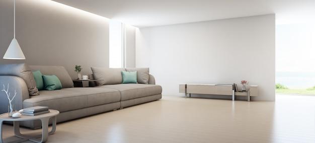 Zeezicht woonkamer van luxe zomer strandhuis met tv-standaard en houten kast in de buurt van grote bank. Premium Foto
