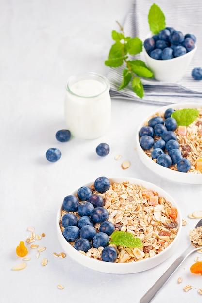Zelfgemaakte muesli van muesli of havermout met noten, gedroogde vruchten en verse bessen. Premium Foto
