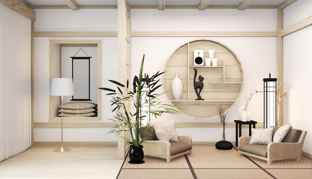 Zen modern kamer japans interieur met planken houten idee van kamer japan en tatami mat. 3d-weergave Premium Foto