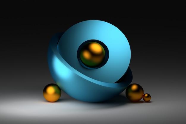 Zensamenstelling met blauwe gouden ballengebieden Premium Foto