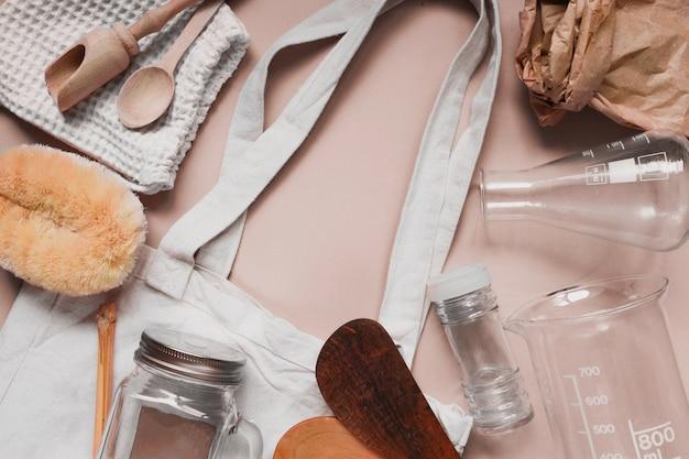 Zero waste shopping concept voor gratis plastic Premium Foto