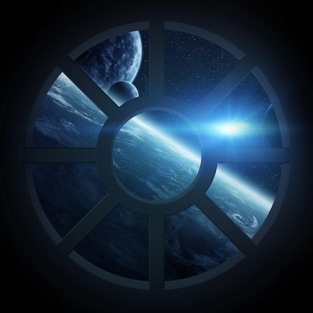 Zicht op de ruimte vanuit een ruimteschipcabine Premium Foto