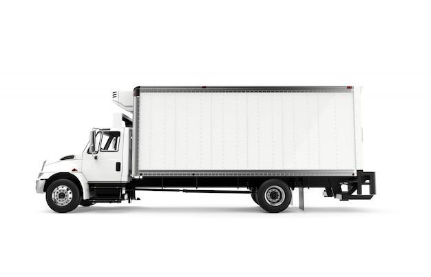 Zij witte vrachtwagen die op een witte achtergrond wordt geïsoleerd Premium Foto
