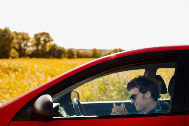 Zijaanzicht man met een kat in de auto Gratis Foto