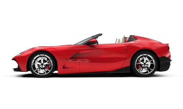 Zijaanzicht van een rode convertibele auto Premium Foto