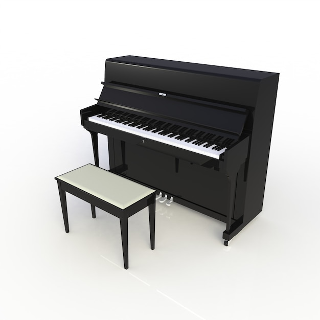 Zijaanzicht van klassieke muzikale instrumenten zwarte piano die op witte achtergrond wordt geïsoleerd Premium Foto