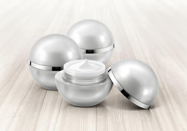 Zilveren bol cosmetische potten Premium Foto
