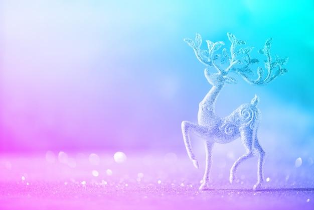 Zilveren glitter kersthert in trendy neon kleuren Premium Foto