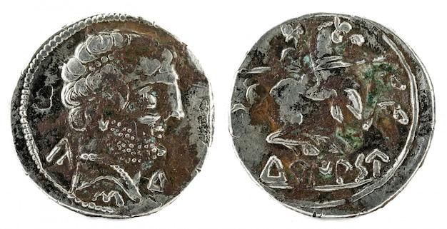 Zilveren munt, oude turiaso iberische spanje zilveren denarius, Premium Foto