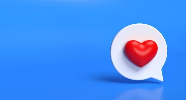 Zoals zeepbel sociale media 3d pictogram. netwerk liefde teken concept. 3d-weergave. Premium Foto