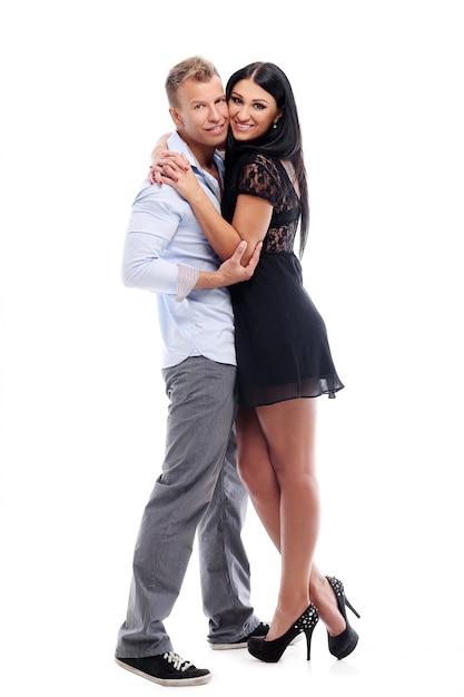 Zoet en sexy paar dat een fotosessie in studio heeft Gratis Foto
