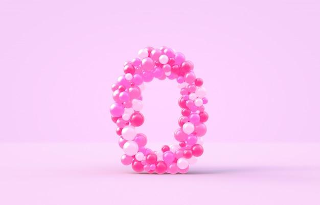 Zoete roze snoep ballonnen nummer 0. Premium Foto