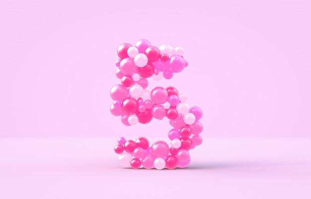 Zoete roze snoep ballonnen nummer 5. Premium Foto
