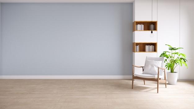 Zolder en uitstekend binnenland van woonkamer, houten leunstoelen met installatie op houten bevloering en blauwe muur, het 3d teruggeven Premium Foto
