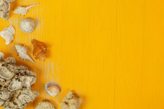 Zomer met schelpen, glazen, fruit en papier op een geel Gratis Foto