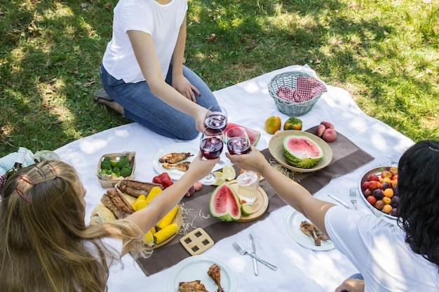 Zomerpicknick met vrienden in de natuur met eten en drinken. Gratis Foto