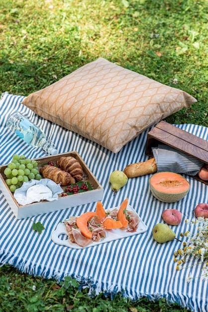 Zomerpicknick op het gras, jamon met meloen, druif, bakkerij, fruit Premium Foto