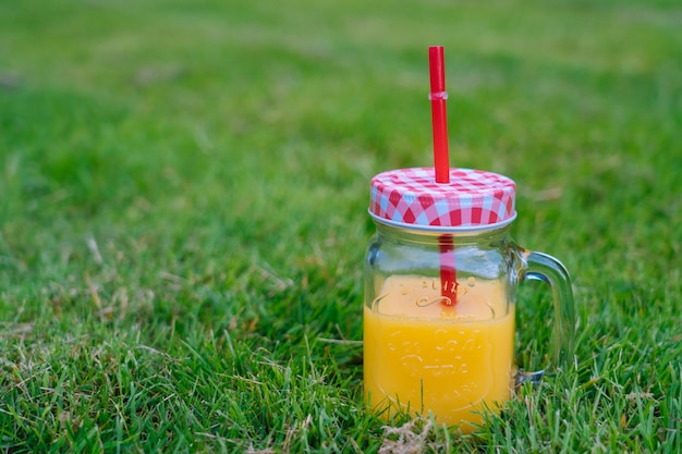 Zomerpicknickconcept op zonnige dag met watermeloen, fruit, boekethortensia en zonnebloemenbloemen. Premium Foto