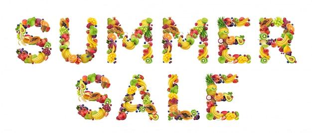 Zomeruitverkoop gemaakt van fruit en bessen Premium Foto