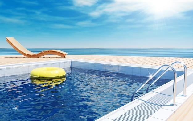 Zomervakantie met zwembad en uitzicht op zee, 3d-rendering Premium Foto