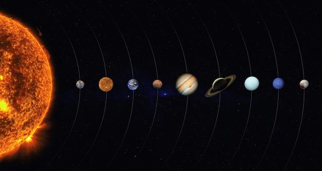Zonnestelsel met planeten en zon Premium Foto