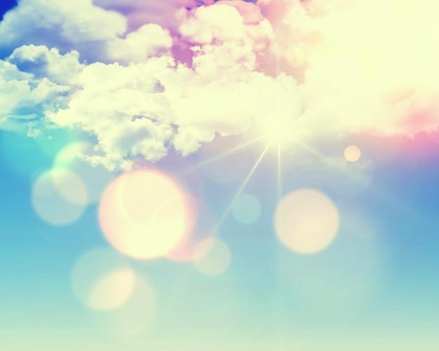 Zonnige blauwe hemel achtergrond met pluizige witte wolken en retro effect toegevoegd Gratis Foto