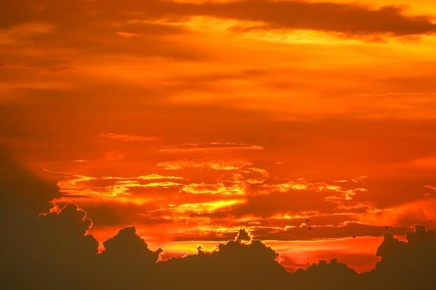 Zonsondergang terug op laatste licht rood oranje hemel silhouet wolk Premium Foto
