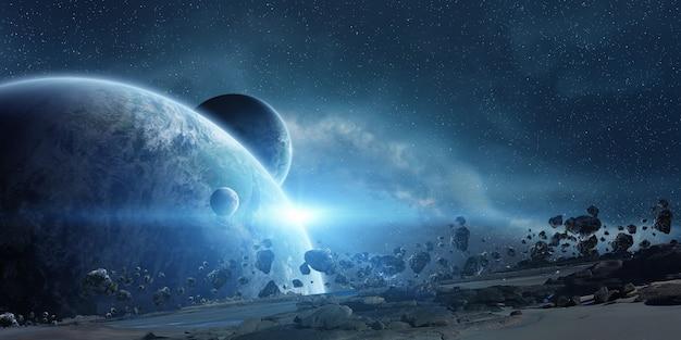 Zonsopgang boven de aarde in de ruimte Premium Foto