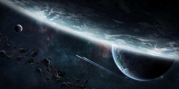 Zonsopgang boven groep planeten in de ruimte Premium Foto