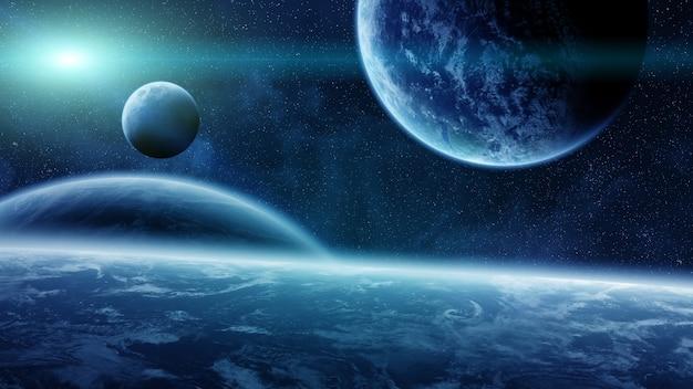 Zonsopgang boven planeten in de ruimte Premium Foto