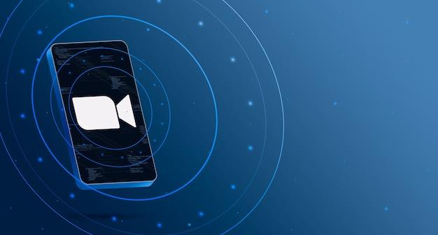 Zoomlogo op telefoon met technologische weergave, slimme 3d render Premium Foto