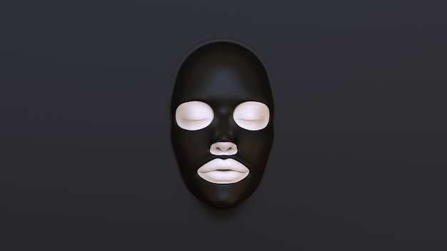 Zwart bladmasker op zwarte achtergrond 3d render Premium Foto