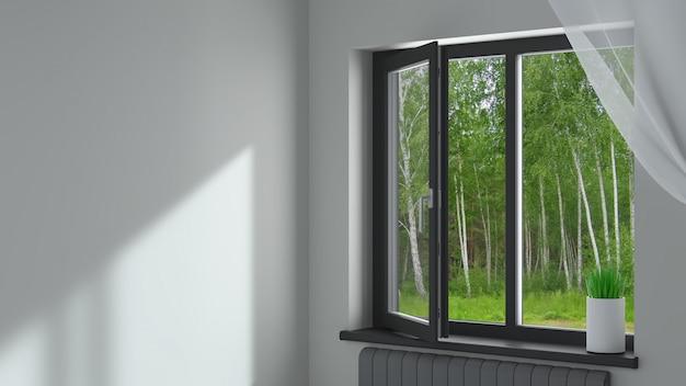 Zwart kunststof raam in de kamer Premium Foto