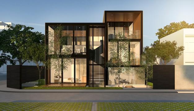 Zwart loft modern huis in de zomer Premium Foto