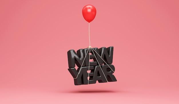 Zwart nieuwjaarsymbool met rode ballon op roze studio Premium Foto