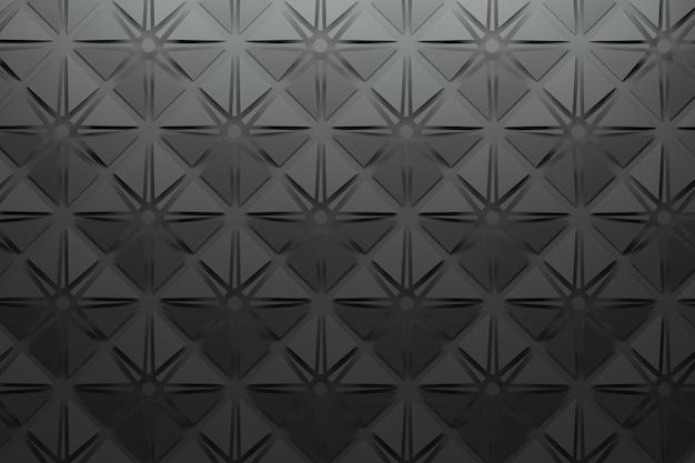 Zwart patroon met vierkante piramides en stervormen Premium Foto