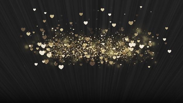 Zwarte achtergrond, digitale handtekening met sprankelende hartvormige deeltjes. Premium Foto