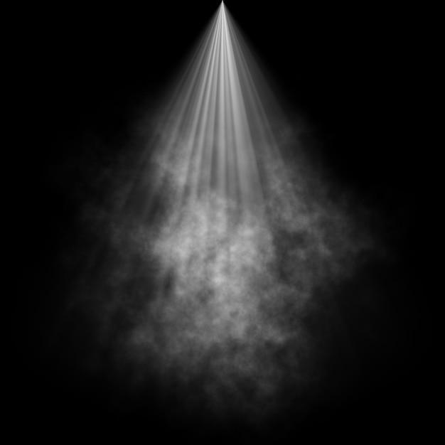 Zwarte achtergrond met rook in schijnwerpers Gratis Foto
