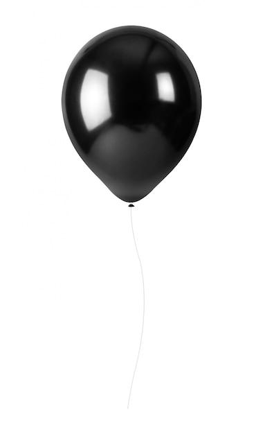 Zwarte ballonnen met touw geïsoleerd op een witte achtergrond Premium Foto