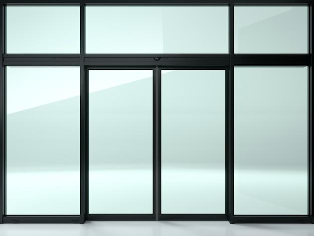 Zwarte dubbele automatische glazen deur in de winkel of ramen. Premium Foto