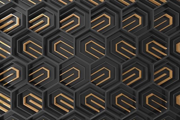 Zwarte en gouden driedimensionale achtergrond Premium Foto