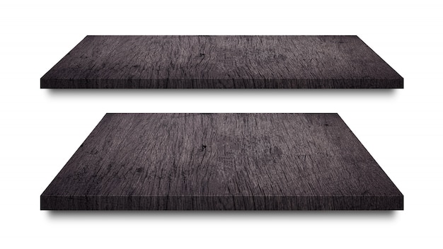 Zwarte houten planken geïsoleerd op wit Premium Foto