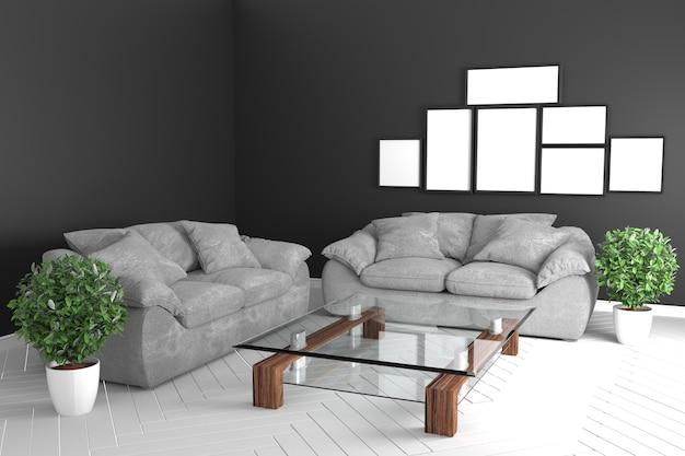 zwarte interieur tropische stijl interieur met grijze banken en glazen tafel 3d rendering premium