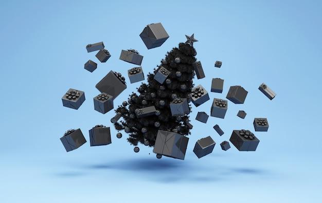 Zwarte kerstboom drijvend met hoop zwarte geschenkdozen op blauwe studio Premium Foto