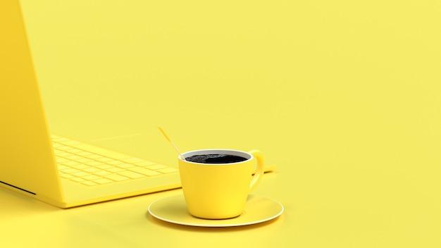 Zwarte koffie in gele kop op het bureau Premium Foto