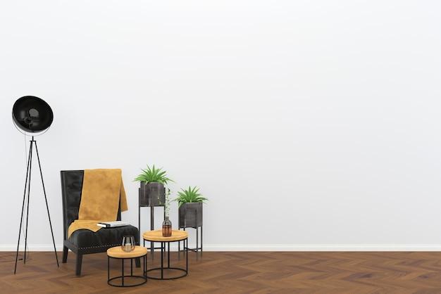 Zwarte Lederen Vintage Stoel Donkere Houten Vloer Woonkamer Interieur Lamp Boom Achtergrond Premium Foto